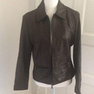 Dark Brown leather Saguaro zip up jacket